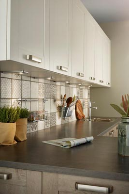 White l-shaped kitchen