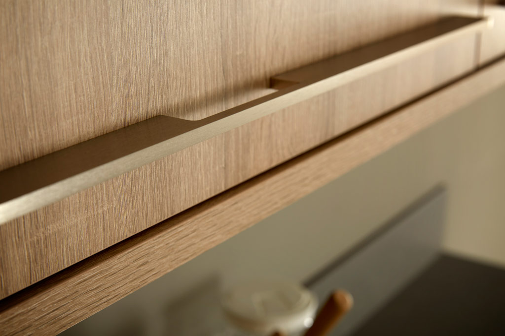 Luxury handles on wooden oak door