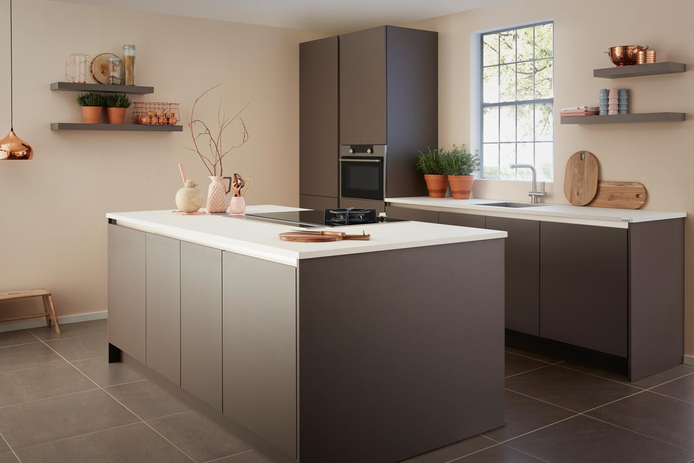 handleless kitchen GL2000 truffle