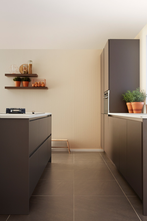 detail of modern handleless kitchen truffle