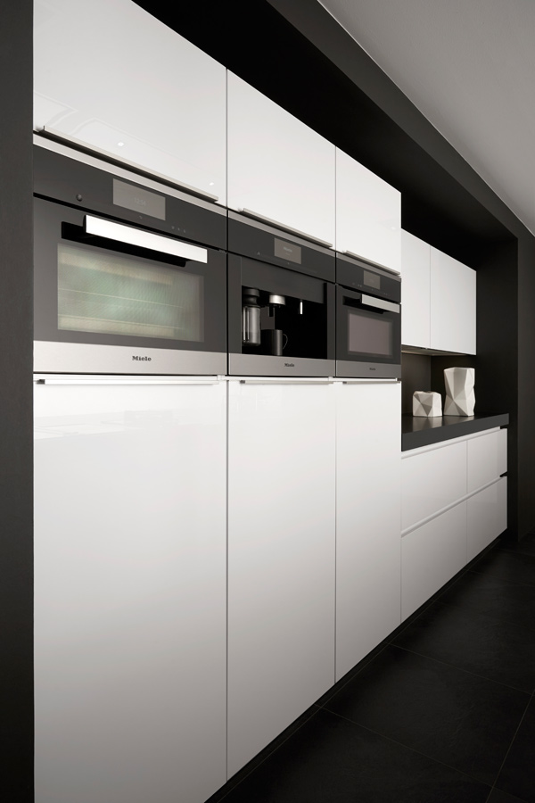 Luxury appliances in handleless kitchen