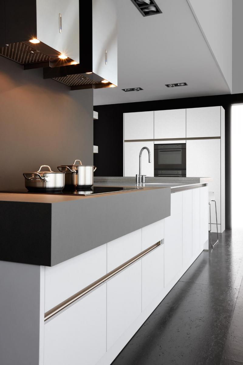 modern handleless kitchen detail