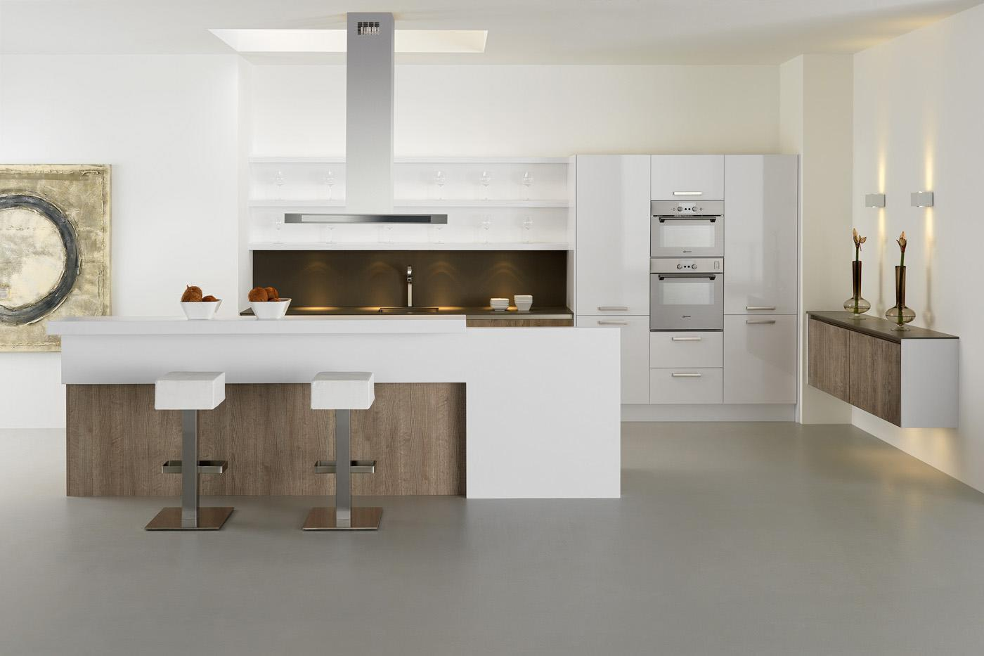 modern kitchen handleless GL7400 White & Timber