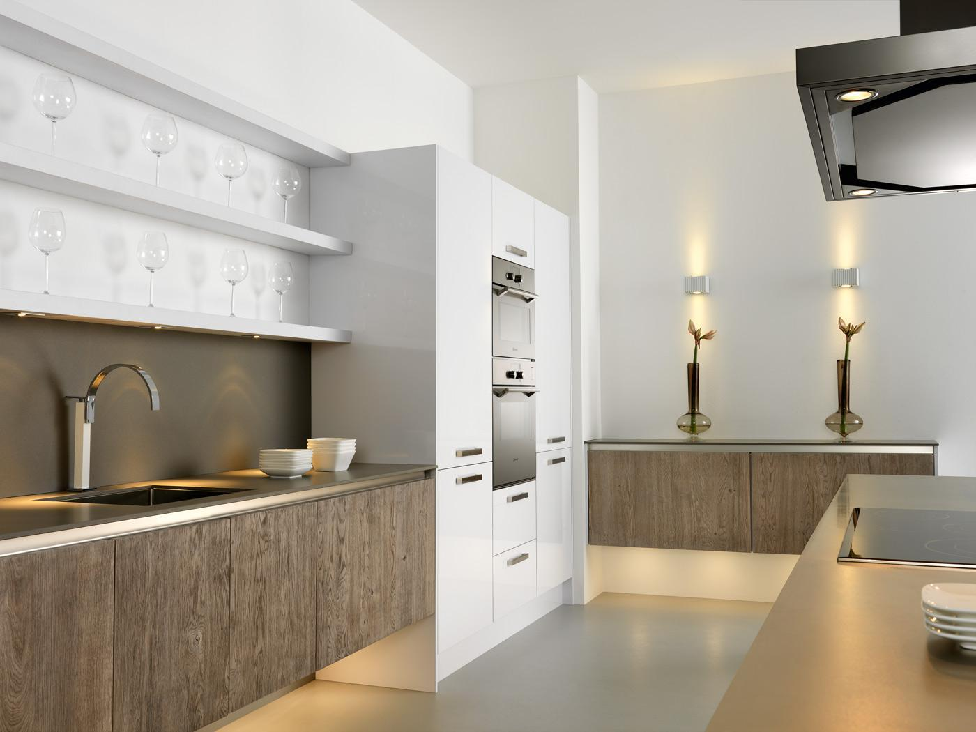 detail of modern handleless kitchen