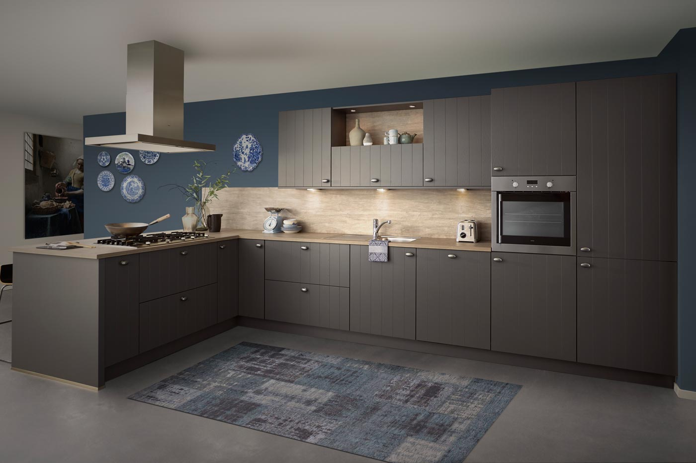 Modern country kitchen Irvine basalt