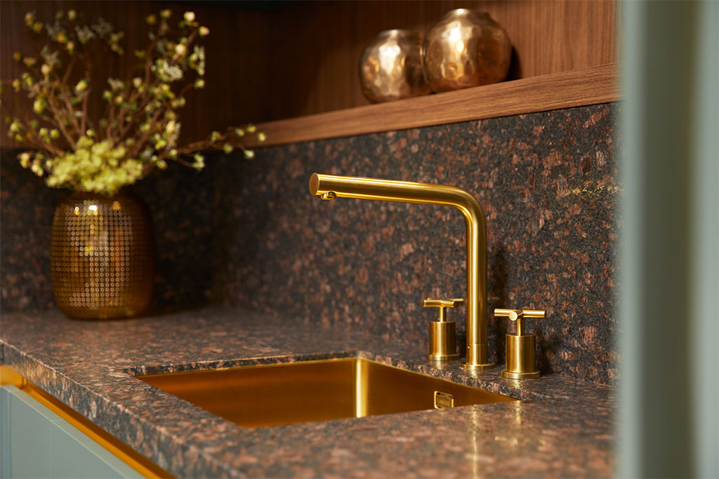 gold tap sink kitchen