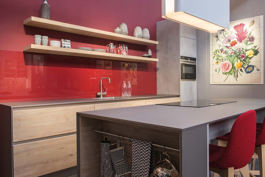 modern kitchen concrete and blond oak