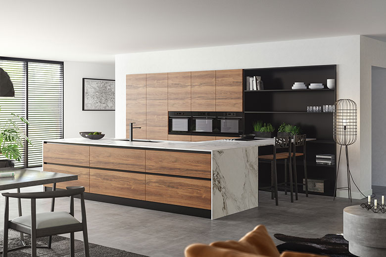 modern warm kitchen handleless