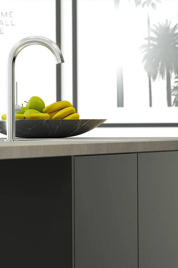 kitchen tap concrete worktop