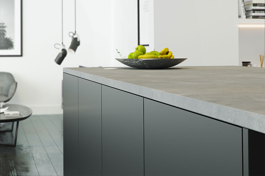 concrete worktop with matt black kitchen fronts