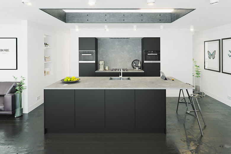matt black kitchen modern