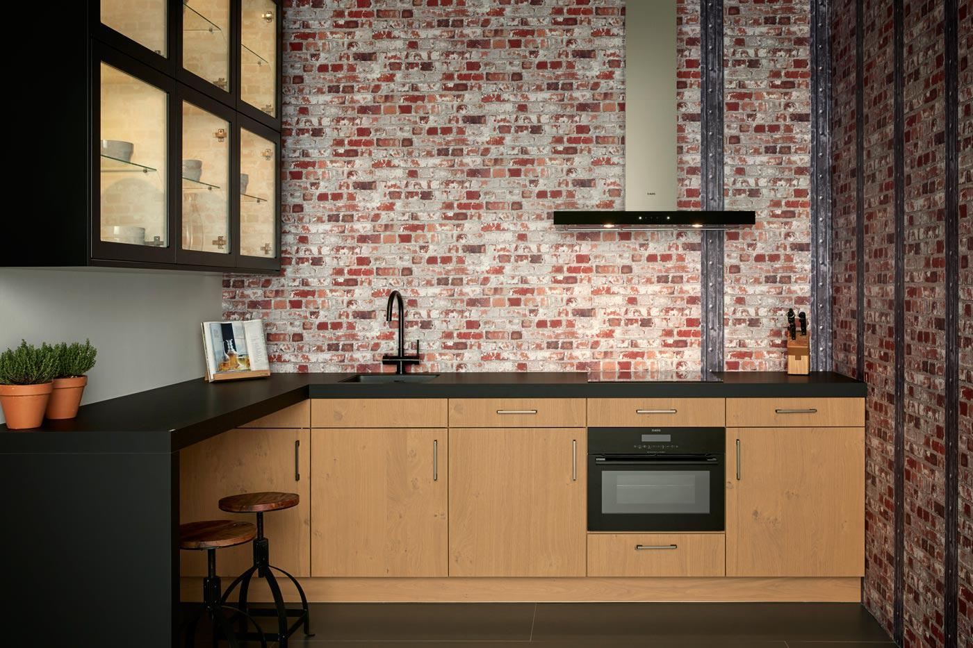Industrial kitchen Nottingham honey oak Marino